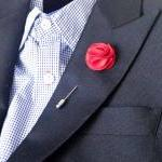 Pom pom RED Men's Flower Boutonnier..
