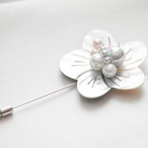 Mother of Pearl flower Men boutonni..