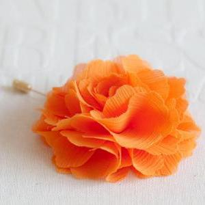 70mm Orange Chiffon Men's Flower Bo..