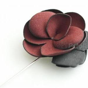 Burgandy-Suede Men's Flower Boutonn..