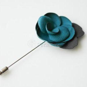 Teal Green-Suede Men's Flower Bouto..