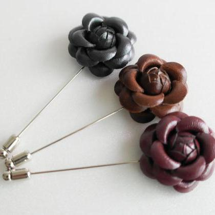 Leather Camellia Flower Boutonniere..
