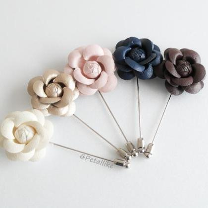 40mm Leather Camellia Flower Bouton..