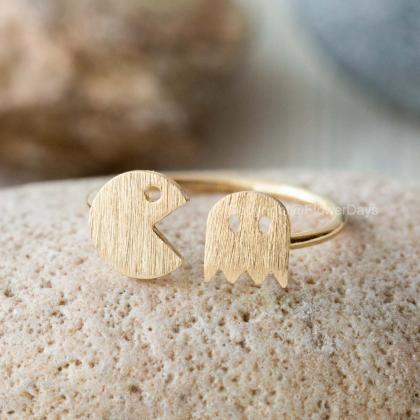 Cute Pacman Adjustable Ring