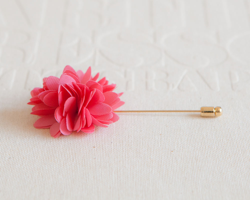 KAYLA-Dark Pink Men's flower Boutonniere / Buttonhole for wedding,Lapel pin,tie pin