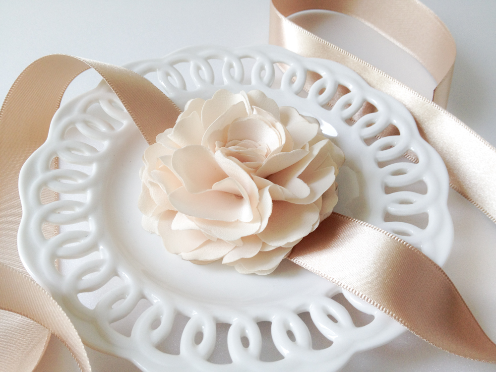 Ruffle Light champagne silky flower with champagne satin Ribbon wrist