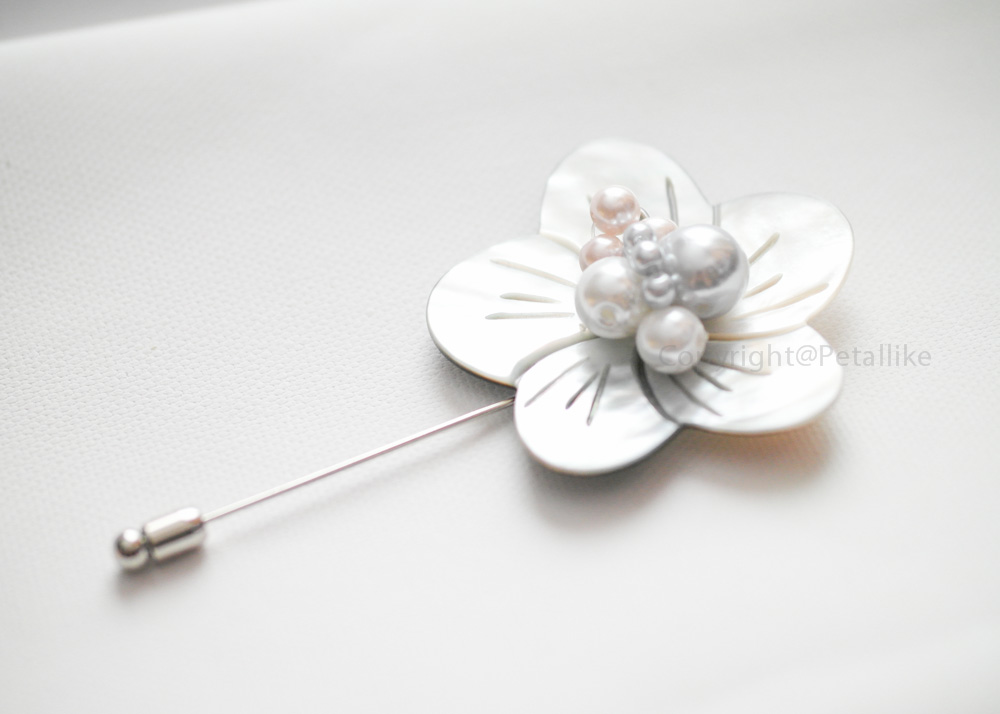 Mother of Pearl flower Men boutonniere lapel pin