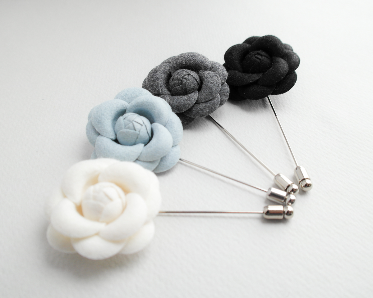 Wool Camellia flower Boutonniere lapel pin
