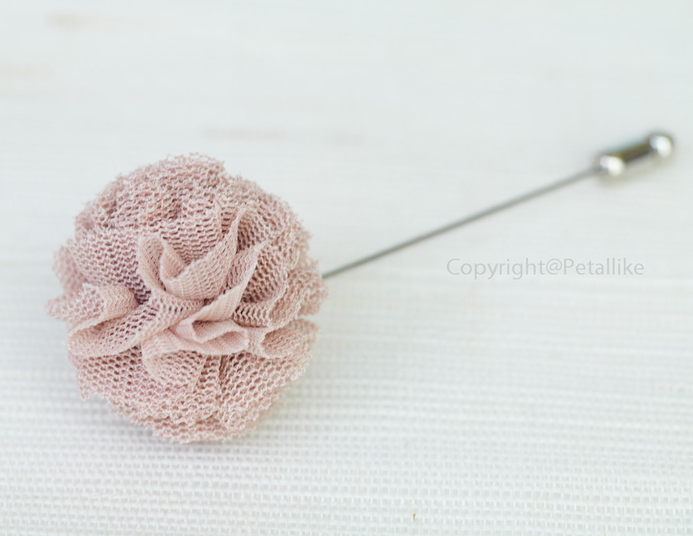 Pom pom tulle Champagne Men's Flower Boutonniere / Buttonhole For Wedding,Lapel Pin,Tie Pin