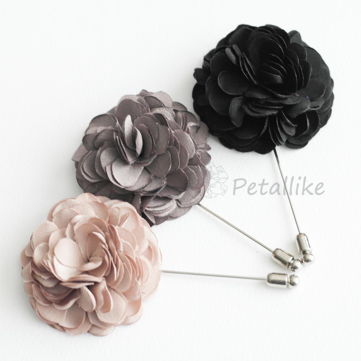 Soft satin blossom Men's Flower Boutonniere / Buttonhole For Wedding,Lapel Pin,Tie Pin