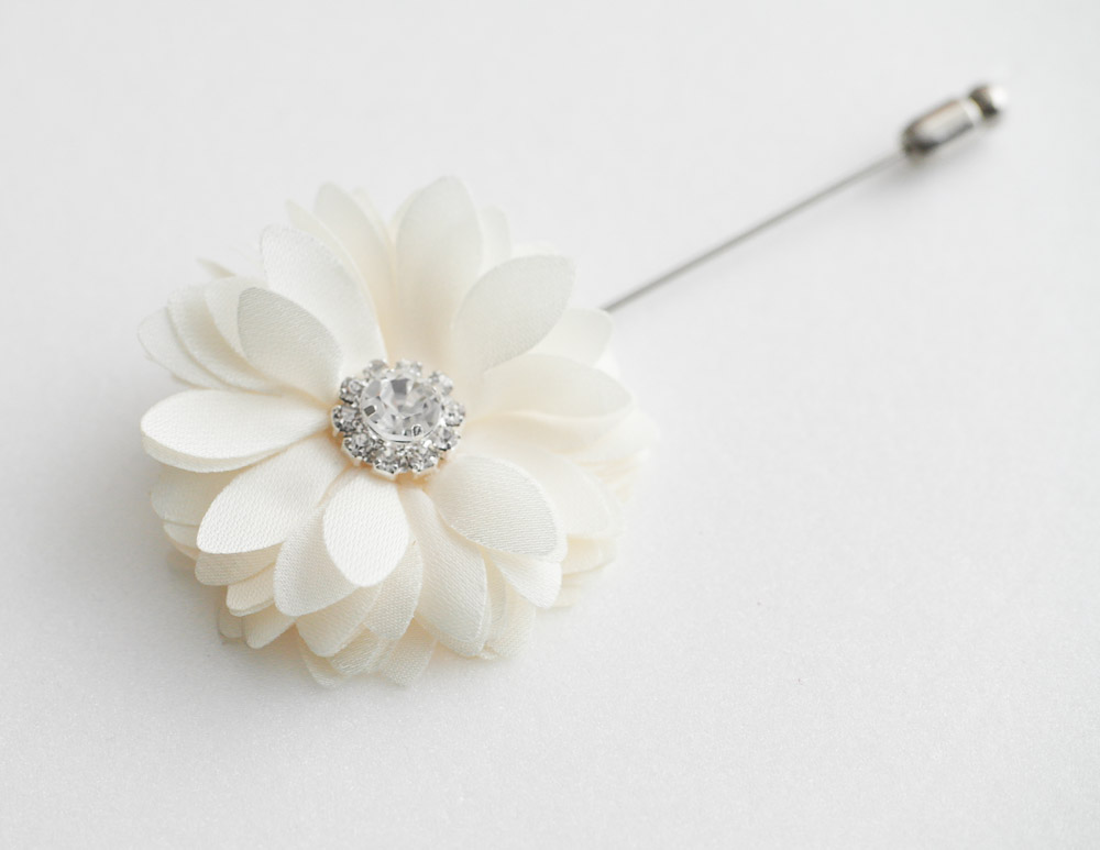 Crystal KAYLA- Men's flower Boutonniere / Buttonhole for wedding,Lapel pin,tie pin