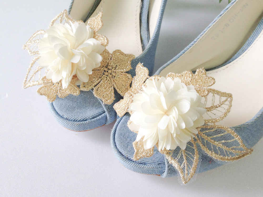 Gold lace leaves flower shoe clips,Set of 2
