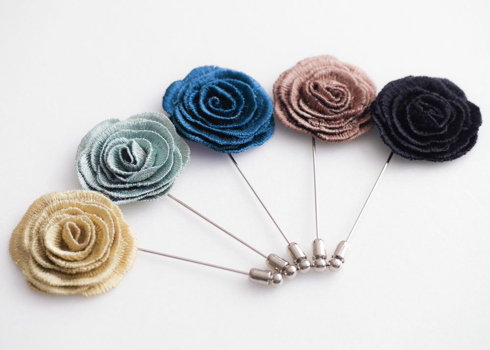 Embroidery Rose Mens Boutonniere Onhole For Wedding Lapel Pin Hat Tie