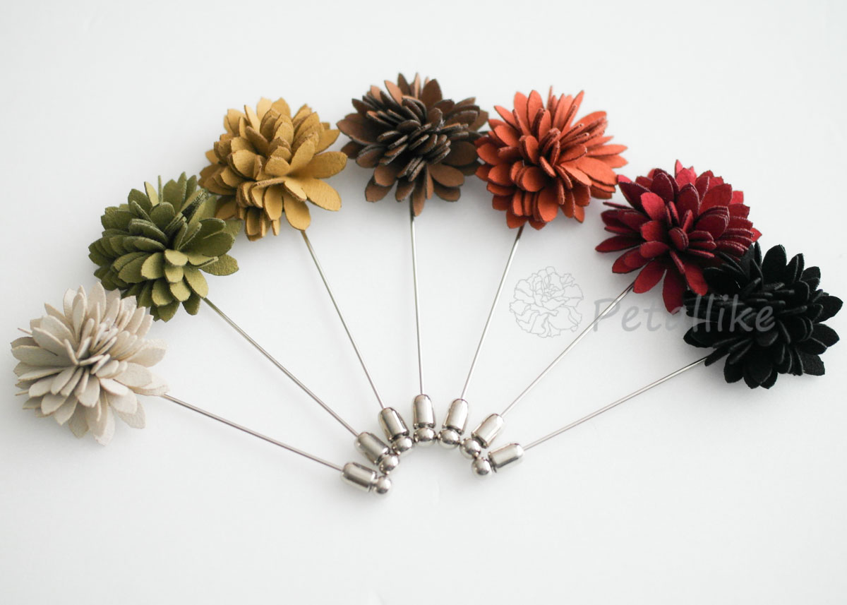 Suede chrysanthemum Men's Flower Boutonniere / Buttonhole For Wedding,Lapel Pin,Tie Pin