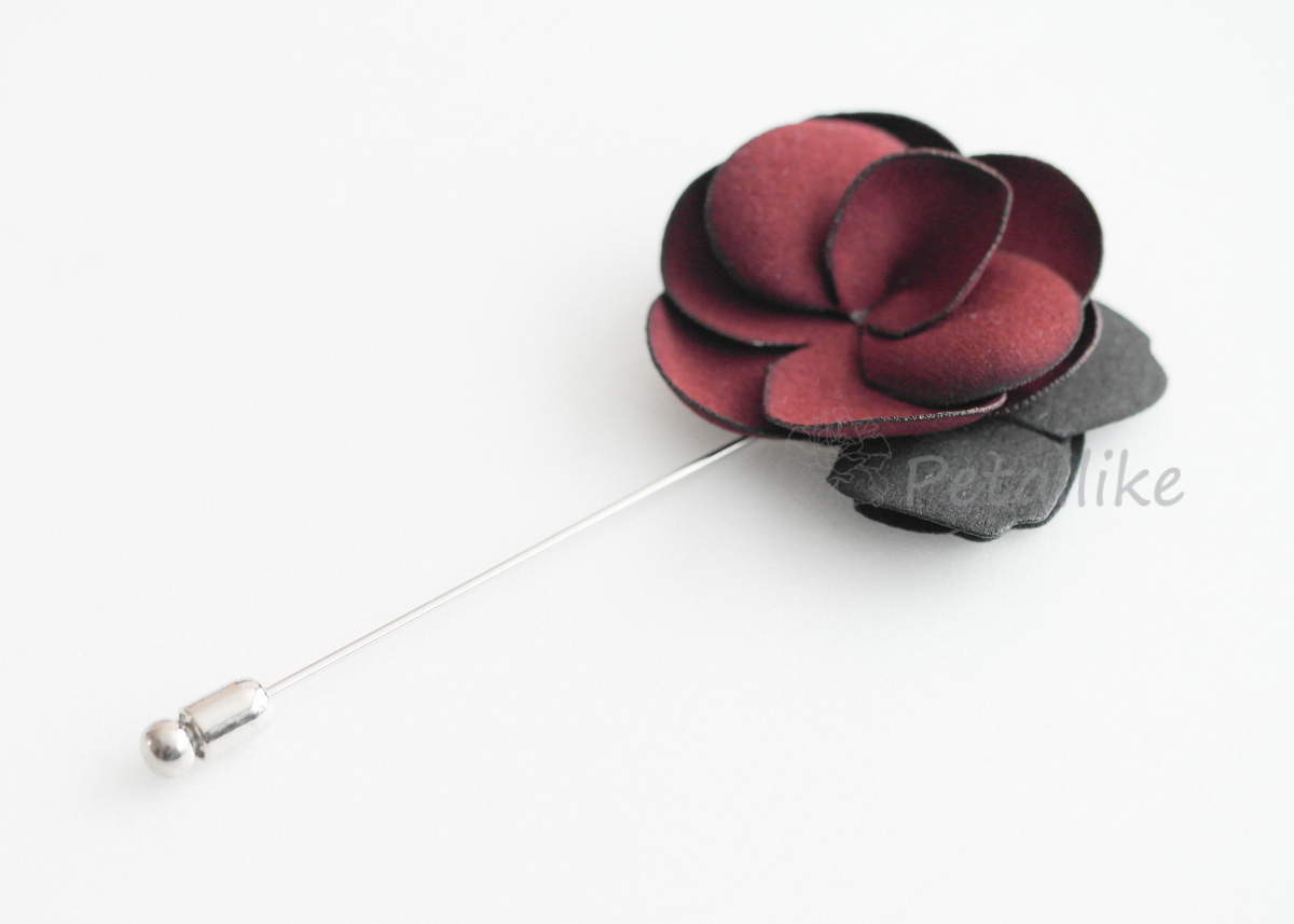 Burgandy-Suede Men's Flower Boutonniere / Buttonhole For Wedding,Lapel Pin,Tie Pin