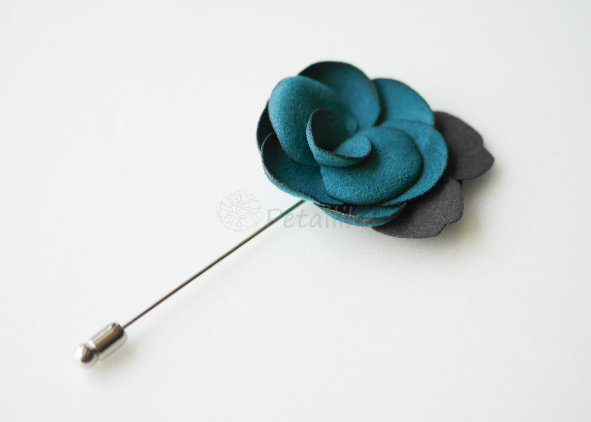 Teal Green-Suede Men's Flower Boutonniere / Buttonhole For Wedding,Lapel Pin,Tie Pin