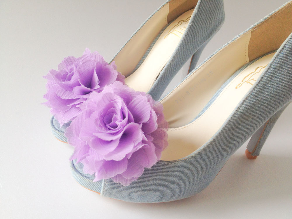 1 Pair(Set of 2)-LAVENDER-Chiffon flower shoe clips for bridal wedding/Choose your color