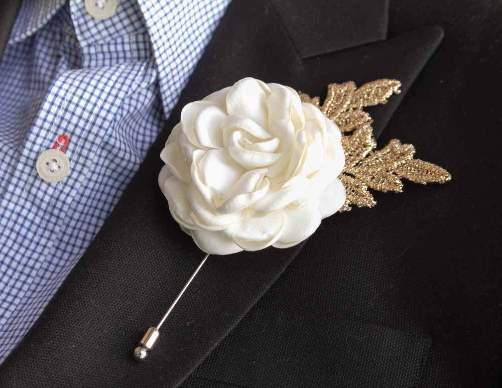 Gold leaf satin rose burned flower mens boutonnierebuttonhole for gold leaf satin rose burned flower mens boutonnierebuttonhole for weddinglapel pinhat pintie pin mightylinksfo