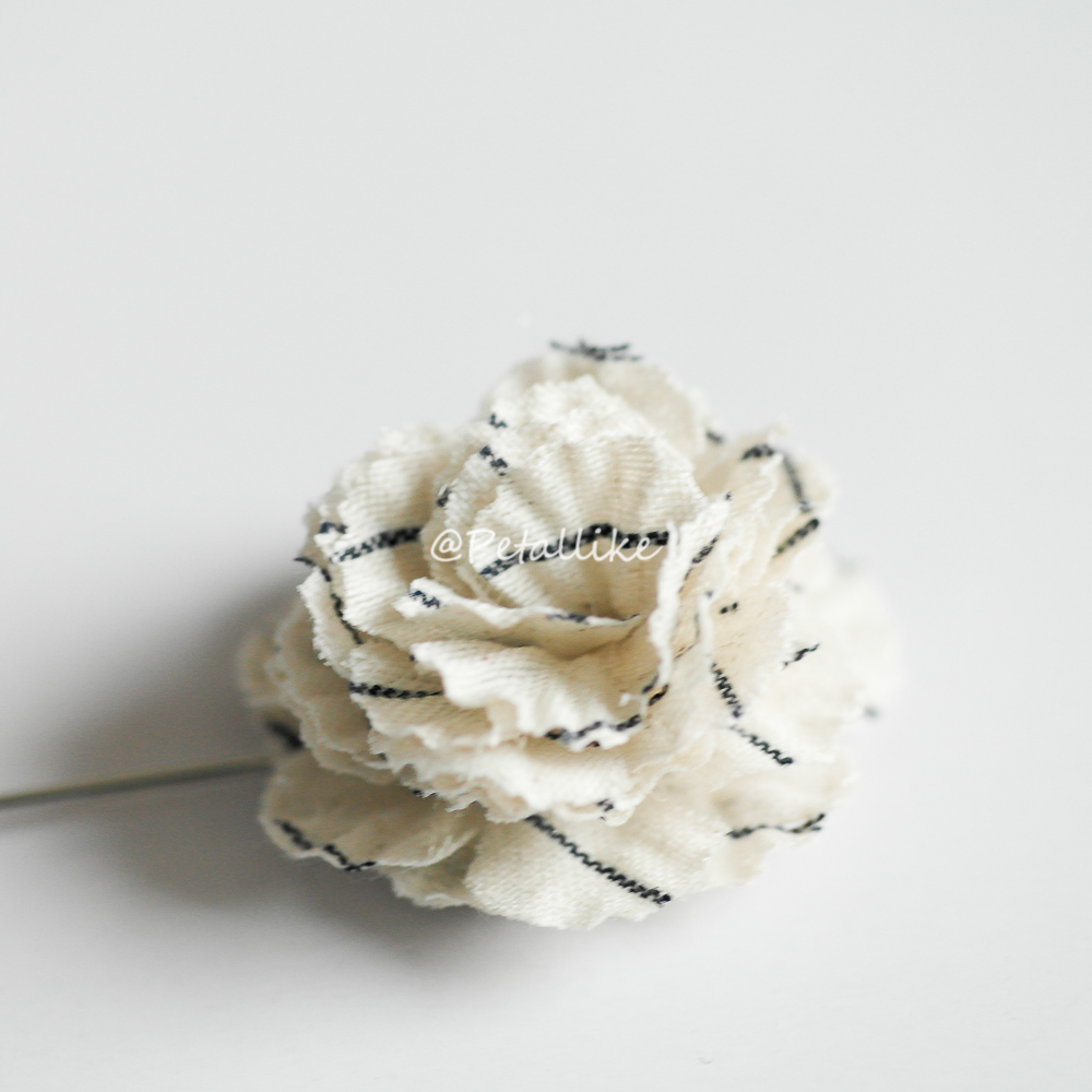 Ivory Cotton stripe flower Men's flower Boutonniere / Buttonhole for wedding,Lapel pin,tie pin