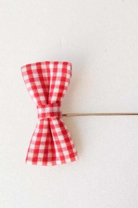 RED Gingham Mini Check Bow Men's Boutonniere/Buttonhole for wedding,Lapel pin,hat pin,tie pin