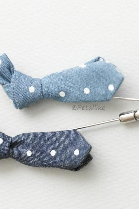 Mini white polka dot Denim Knot bow tie Men's Boutonniere Lapel Pin