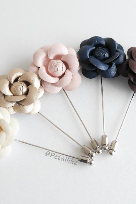 40mm Leather Camellia Flower Boutonniere/Buttonhole For Wedding,Lapel Pin,Hat Pin,Tie Pin