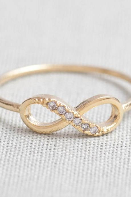 Crystal Embedded Gold Plated Infinity Ring - Size 6