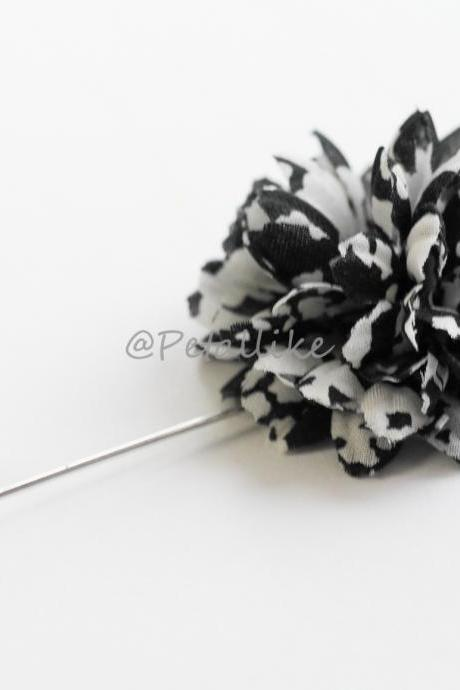 Black and White pattern Men's flower Boutonniere/Buttonhole for wedding,Lapel pin,hat pin,tie pin