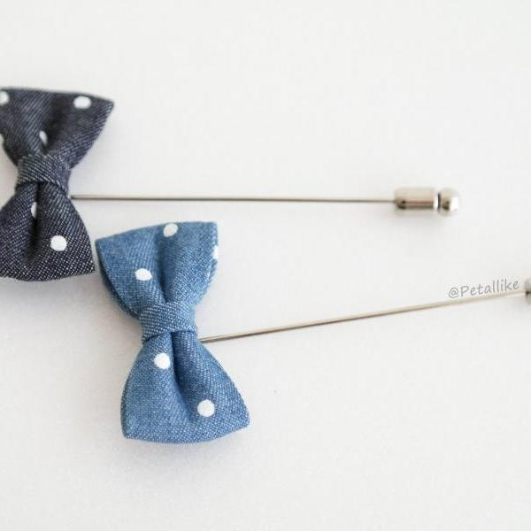 Mini Denim blue Polka dot Bow Men's Boutonniere / Buttonhole For Wedding,Lapel Pin,Tie Pin