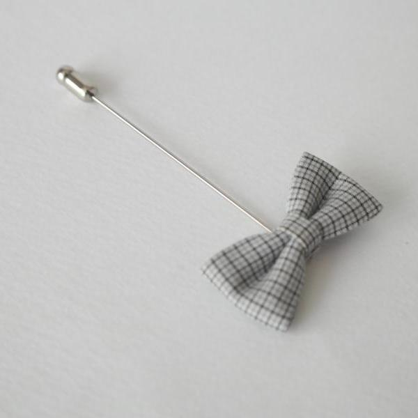 Black Mini Check Bow Men's Flower Boutonniere / Buttonhole For Wedding,Lapel Pin,Tie Pin