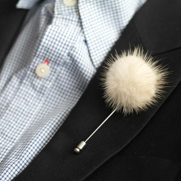 FOX Mink fur ball Men's Flower Boutonniere/Buttonhole for wedding,Lapel pin,hat pin,tie pin