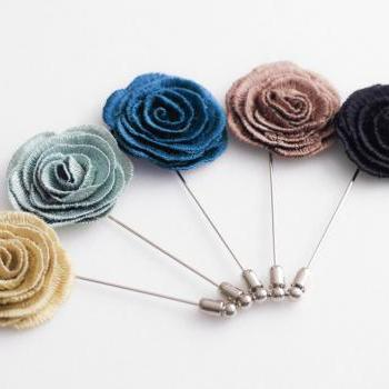 Embroidery Rose Mens Boutonniere/Buttonhole for wedding,Lapel pin,hat pin,tie pin