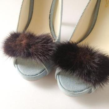 Mink Bow shoe clips