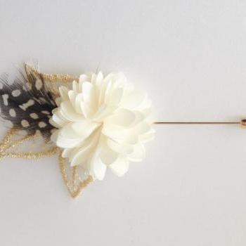 Vintage Gold leaf feather Cream Ivory flower Mens flower Boutonniere Lapel pin