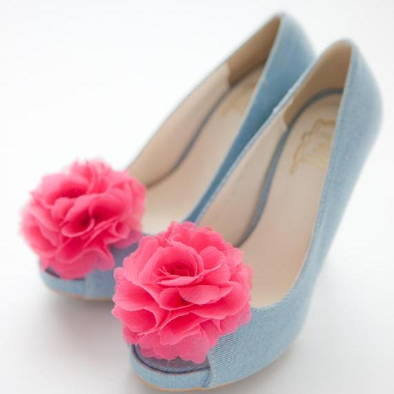 1 Pair(Set of 2)-fuchsia pink-Chiffon flower shoe clips for bridal wedding/Choose your color