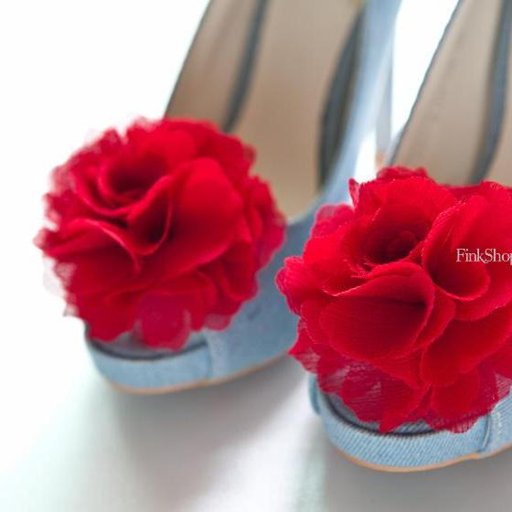 1 Pair(Set of 2)-RED-Chiffon flower shoe clips for bridal wedding/Choose your color