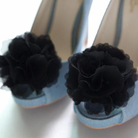 1 pair (Set of 2) Black Chiffon flower shoe clips for bridal wedding /Choose your color