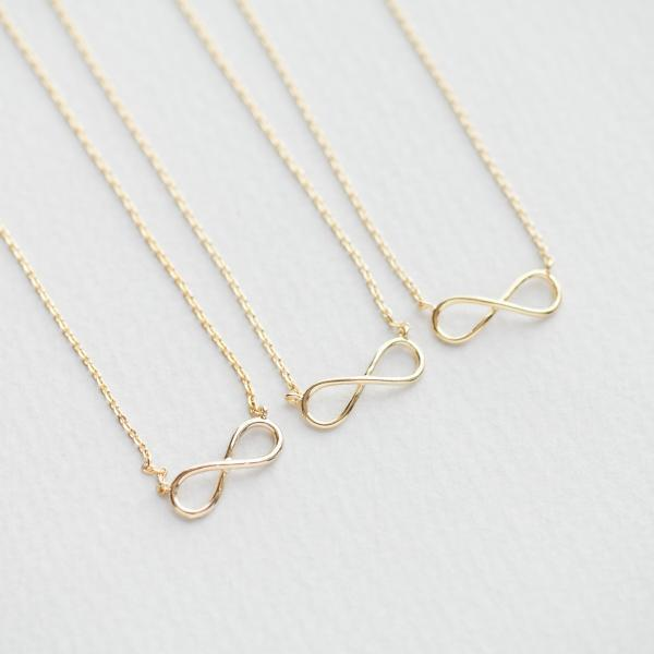 Bridesmaid gifts - Set of 5pcs - Simple tiny wire infinity necklace