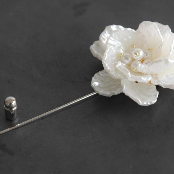 Pearl beads flower Men boutonniere lapel pin, tie pin, stick pin for Men's gift.