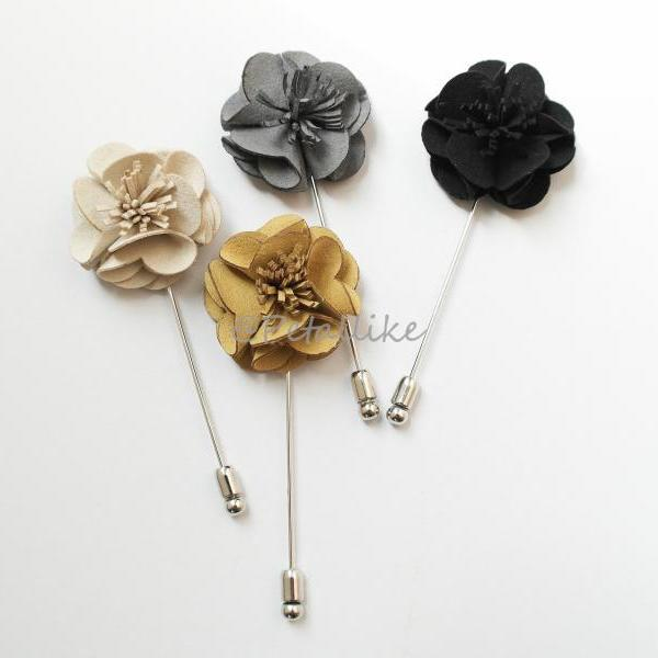 Blossom Suede men's Flower Boutonniere Buttonhole For Wedding,LAPEL PIN